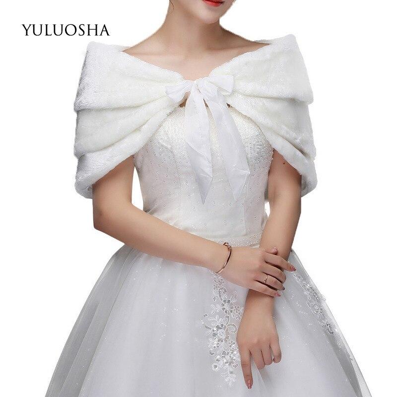 YULUOSHA Winter Bride Wedding Shawl Faux Fur Bridesmaid Dress Imitation Rabbit Plush Shawl Warm Scarf Bridal Jacket Hooded Cape