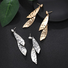 and American design ear jewelry personality irregular metal geometry long Earrings Fashion temperament female Earrings