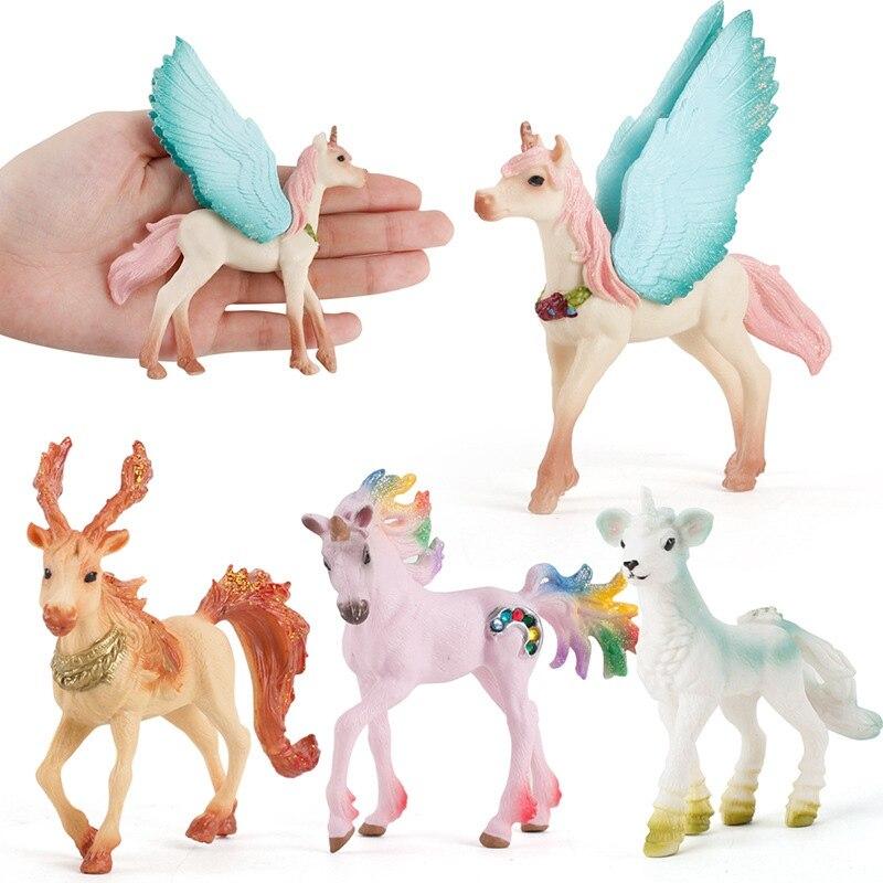 Colorful Unicorn Toy Simulation Mini Animal Model Solid Unicorns Flying Horse Figure Model Wild Figures Kids Educational Toys