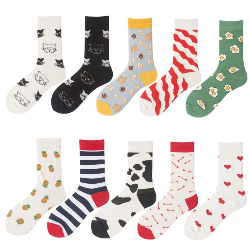 Combed Cotton Fashion Hip Hop Happy Socks For Men Trend Poached Egg Pineapple Fruits Personality Funny Socks Tide Socks Original