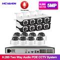 H.265 POE CCTV Security System 16CH 5MP 4K Audio Record NVR Outdoor 5MP PoE IP Camera IR-CUT Night P2P Video Surveillance Kit