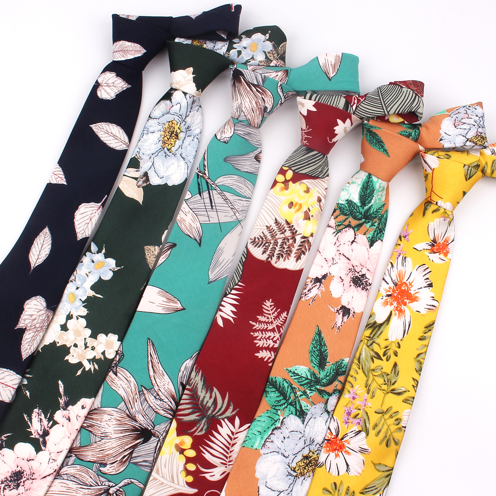 New Floral Ties For Men Printed Chiffon Tie Mens Ties Spring Summer Slim Neck Tie Fashion Skinny Necktie For Wedding Party