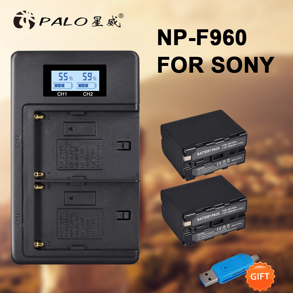 2Pcs 7200mAh NP F970 NP F960 F970 Power Display Battery LCD Dual digital camera Charger for SONY F930 F950 F770 F570 CCD RV100 in Digital Batteries from Consumer Electronics