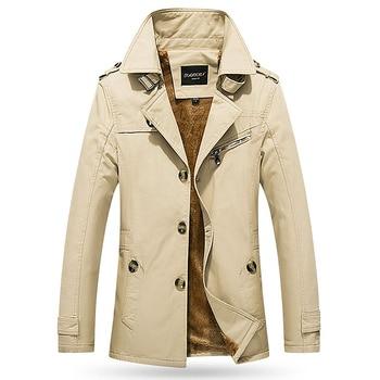 2019 Male Parker Overcoat Long Jacket Coat Men Trench Trenchcoat Masculina Windbreaker Outwear Plus Velvet Thickening