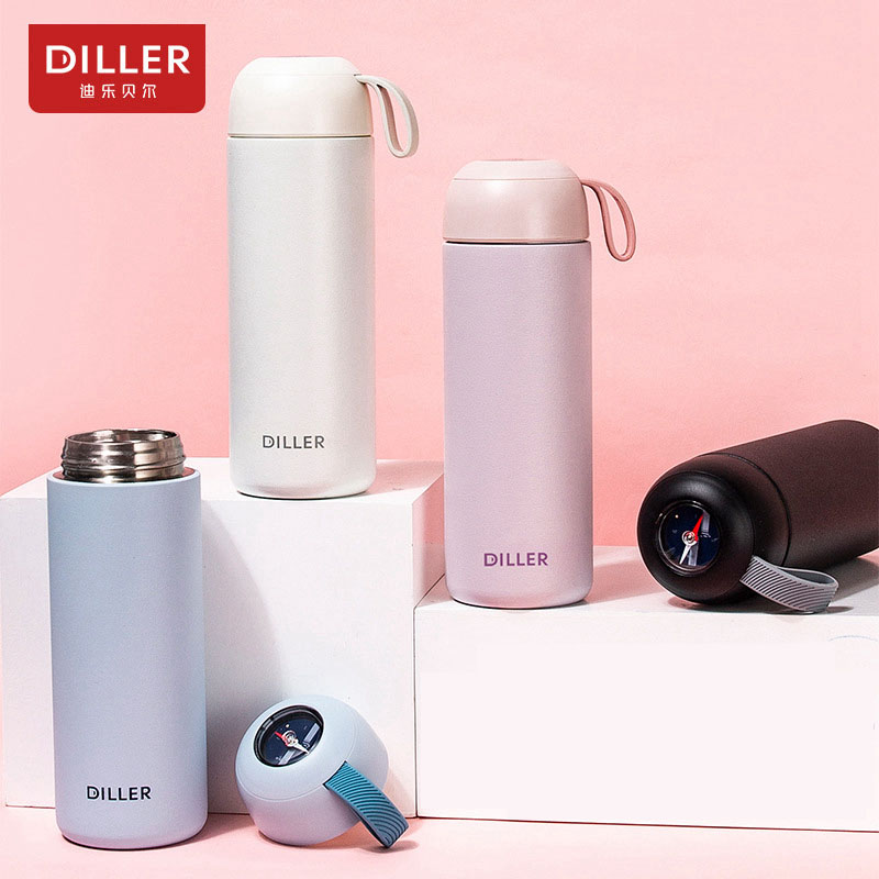 DILLER MLH8767 Thermos Outdoor Compass Double 304L Stainless Steel Thermos Thermos Coffee Tea Milk Travel Cup Kettle