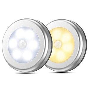 Image 1 - LED مصابيح بمستشعرات مستديرة جدار الدرج ليلة مصباح PIR محس حركة التعريفي مصباح الخزانة لتحت خزانة غرفة نوم المطبخ مصباح