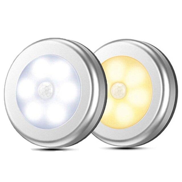LED مصابيح بمستشعرات مستديرة جدار الدرج ليلة مصباح PIR محس حركة التعريفي مصباح الخزانة لتحت خزانة غرفة نوم المطبخ مصباح