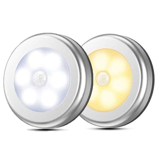 LED Round Sensor Lights Wall stairs Night Lamp PIR Motion Sensor Induction Closet light for under cabinet bedroom kitchen Lamp