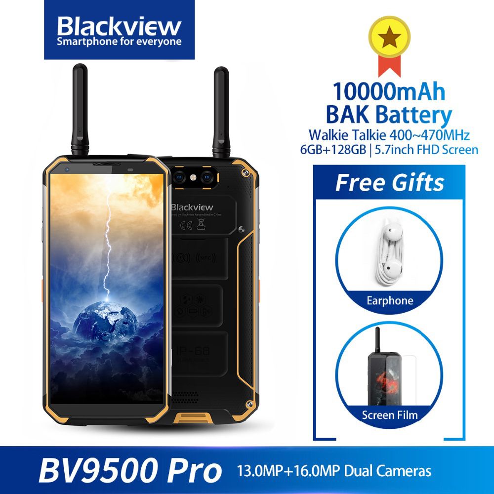 Blackview BV9500 Pro IP68 Rugged Waterproof Walkie Talkie Smartphone 6GB 128GB 10000mAh Battery Octa Core 5.7'' 18:9 NFC Phone image