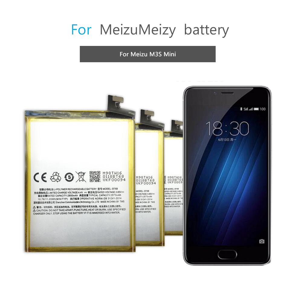 Mobile Phone Battery  For Meizu M3 M3S M3S Mini Replacement Battery BT68 2800mAh