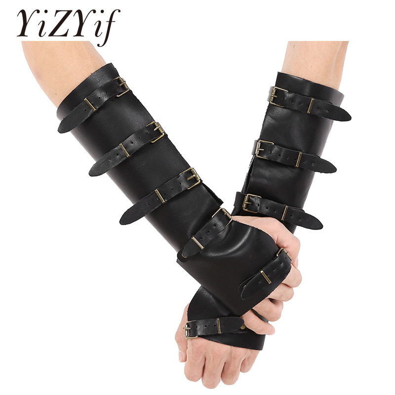 Punk Faux Leather Wide Medieval Bracers Protective Arm Armor Cuffs Wristband Adjustable Five Metal Buckles Gauntlet Wristband