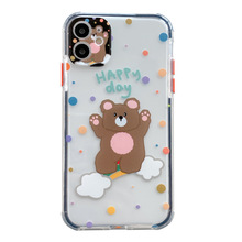 cute bear smile  Phone Case For iPhone 11 Pro Max XR XS X 7 8 Plus Planet Star Transparent TPU Back Cover Cases