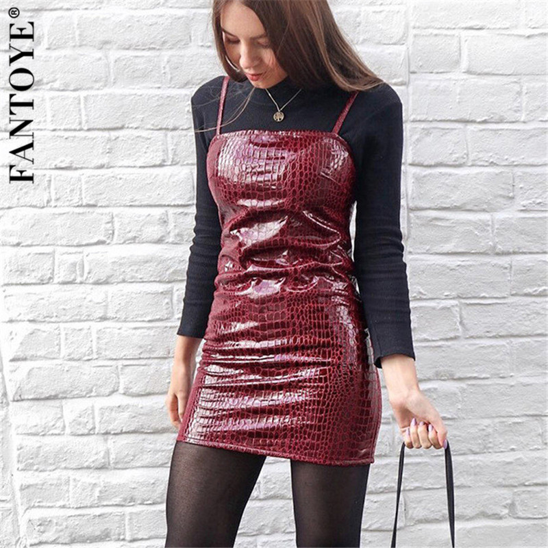FANTOYE Crocodile Pattern <font><b>Faux</b></font> PU <font><b>Leather</b></font> <font><b>Dress</b></font> Gown <font><b>Women</b></font> <font><b>Sexy</b></font> Spaghetti Strap Clubwear Party <font><b>Dresses</b></font> <font><b>Mini</b></font> Backless Streetwear image