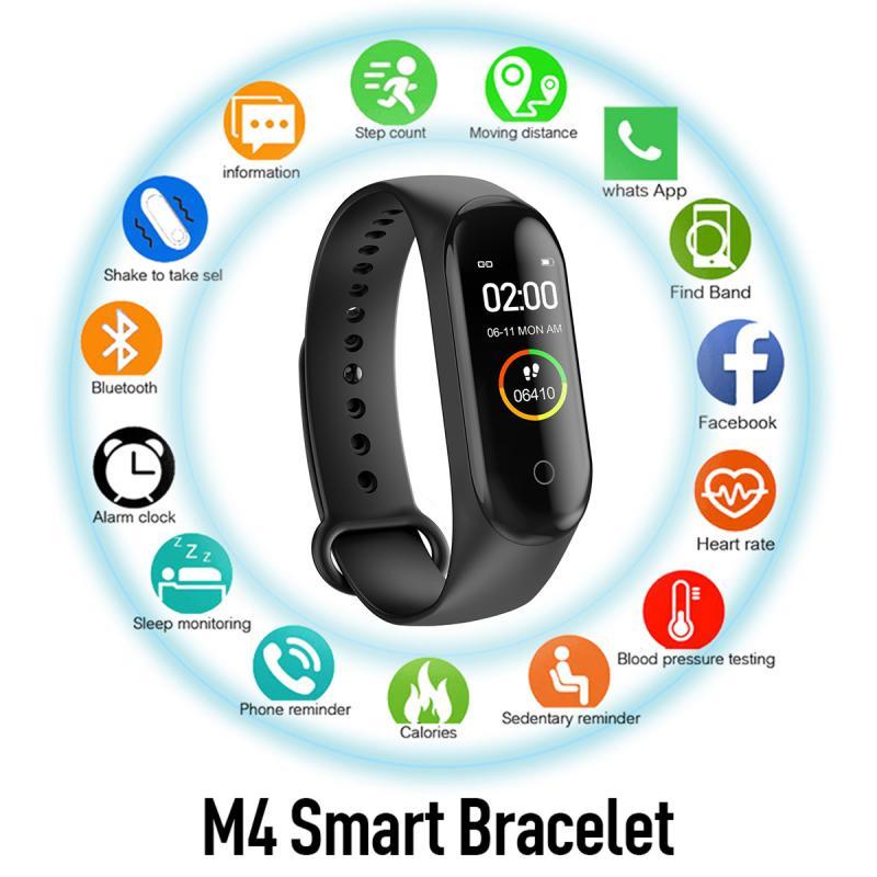 M4 Smart Sports Bracelet Fitness Tracker Health Heart Rate Blood Pressure Monitoring IP67 Waterproof Bluetooth Pedometer Watch