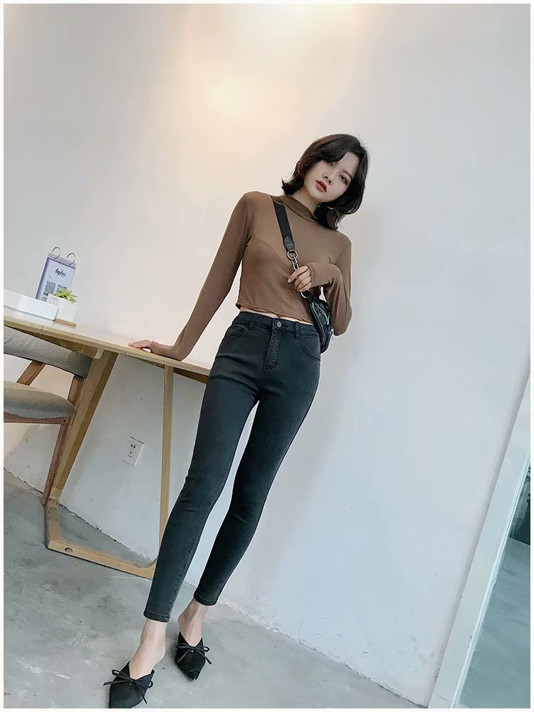 Autumn New Style Europe And America WOMEN'S Dress Versitile Fashion High-waisted Buttock Lifting Explicit Thin 7-8 Points Jeans