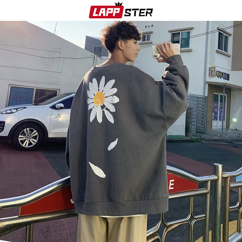LAPPSTER Men Oversized Flower Fleece Hoodies 2019 Autumn Mens Harajuku Streetwear Sweatshirts Hoodie Korean Drop Shoulder Hoodie