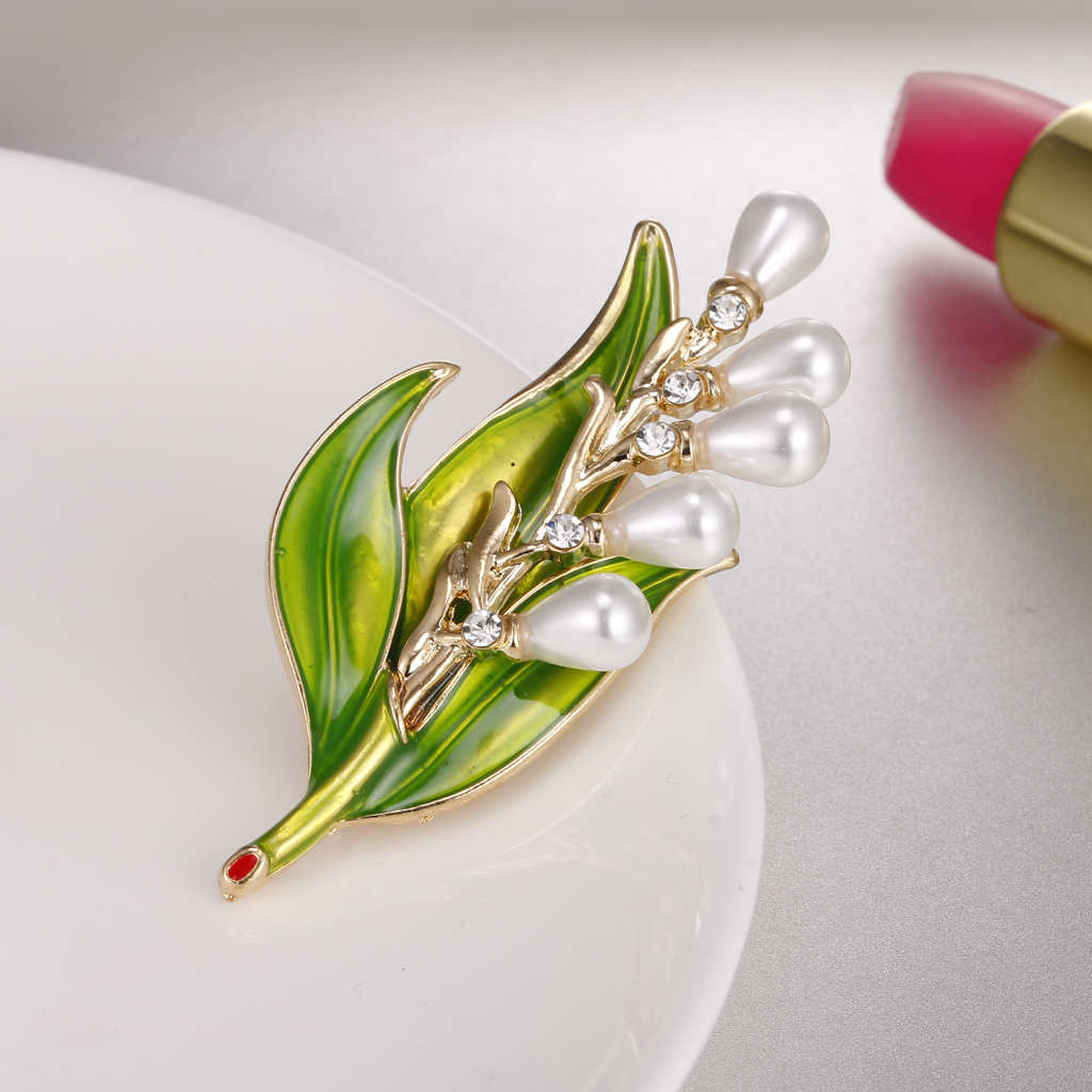 Enamel Crystal Pearl Green Leaf Wedding Pin Brooch Fashion Women Jewelry