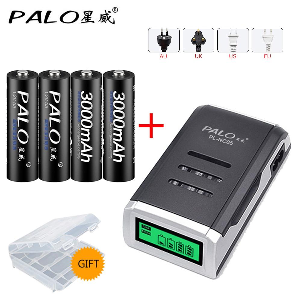 PALO высококачественное зарядное устройство с ЖК-дисплеем, 4 канала, зарядное устройство + 4 шт. aa NIMH 1,2 V 3000mah nimh аккумуляторы