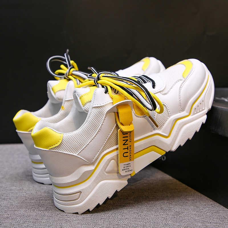 2020 Grosso delle donne di Scarpe Da Tennis di Modo Pattini Della Piattaforma Delle Donne Del Merletto Up Vulcanize Scarpe Delle Donne Femminile scarpe Da Ginnastica Papà Scarpe 89