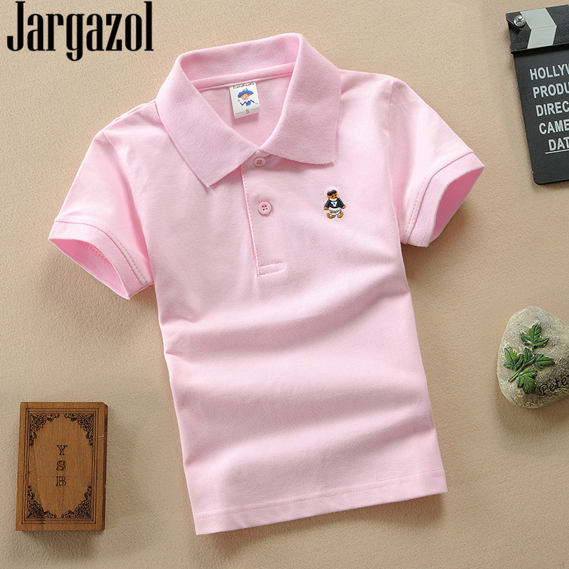 Jargazol Teenagers 3-15 Years Boys Shirts Short Sleeve Tops Solid Sport Polo Shirt Kids School Costume Children Girls Clothes