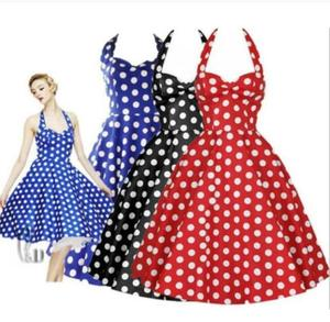 Женское винтажное платье с узором в горошек, вечерние платья с лямкой на шее, платье размера плюс на лето 2019