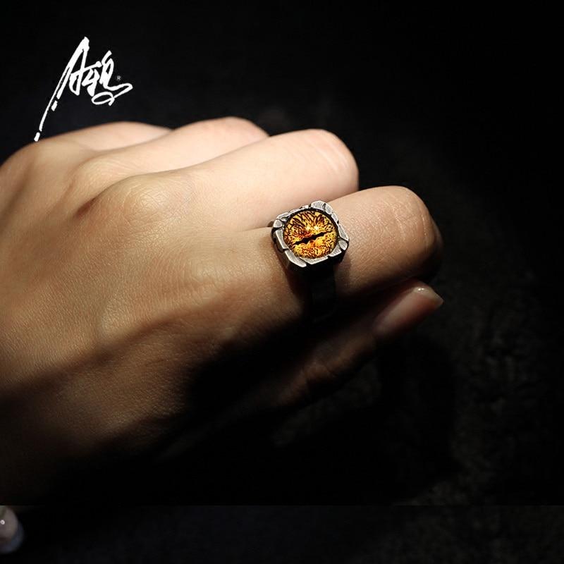 Personnalité 8 couleurs anneau pour les yeux à la main personnalisé 925 argent fantômes yeux Vintage gothique anneaux Rock Punk hommes garçon bijoux