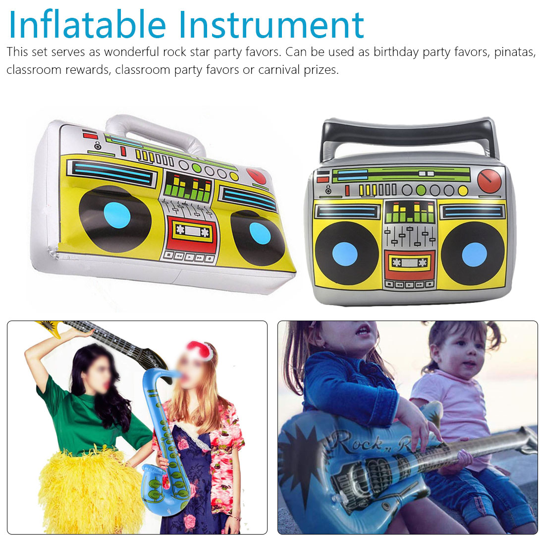 1PC Fancy Instrument Inflatable Toys Guitar Microphone Radio Inflatable Keyboard Drum For Kids Carnival Party Beach Decoration