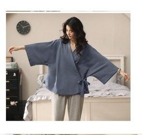 Image 4 - Conjunto de pijama de algodón de estilo Retro Japón para niña y mujer, ropa para el hogar, Kimono informal, ropa para el hogar