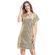 Сексуальное платье Элегантный Для женщин сверкающими пайетками вечерние платья с коротким рукавом реглан и круглым вырезом коктейльное Кл...