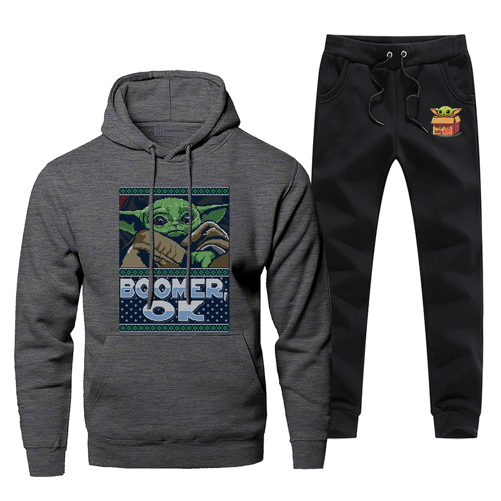 Men's Cute Young Baby Yoda Sportswear Sets Tracksuit The Mandalorian Star Wars 2 Piece Sweatshirt + Sweatpants Starwars Cool Set