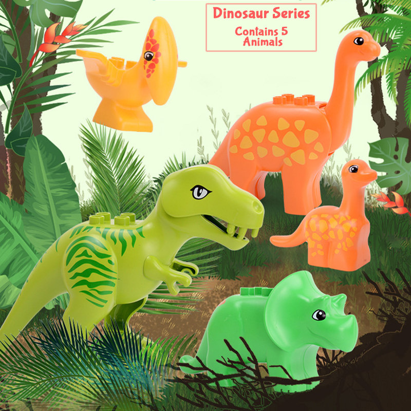 Duploed Dinosaur Series Dinosaur Model Kits Set Big Size Duploe Building Blocks Bricks Duploe Toys For Children Birthday Gifts