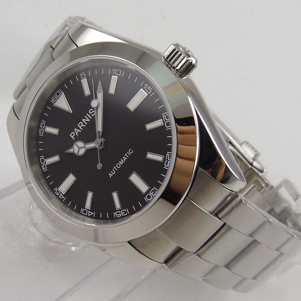 <font><b>Parnis</b></font> <font><b>40mm</b></font> <font><b>Watch</b></font> Men Mechanical Stainless Steel Case Sapphire Crystal Casual Luminous Waterproof Men's Automatic <font><b>Watch</b></font> image