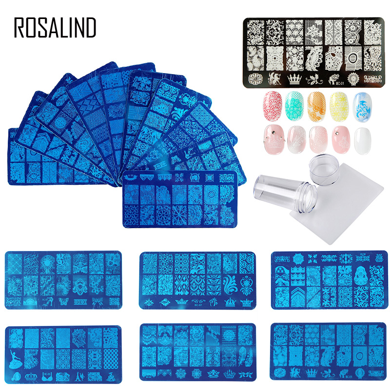 ROSALIND Rubber Stamp For Nail Stamping Plates Stamper Scraper With Cap Template All For Manicure Top Gel Stamp For Nail Art