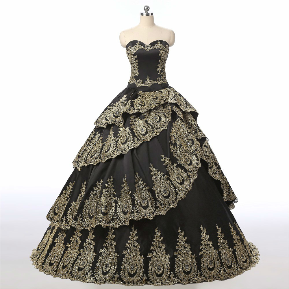 Black Gold Applique Ball Gown New Custom Made Top Quality Quinceanera Long Dresses Evening Formal Dress Party With Jacket Gowns