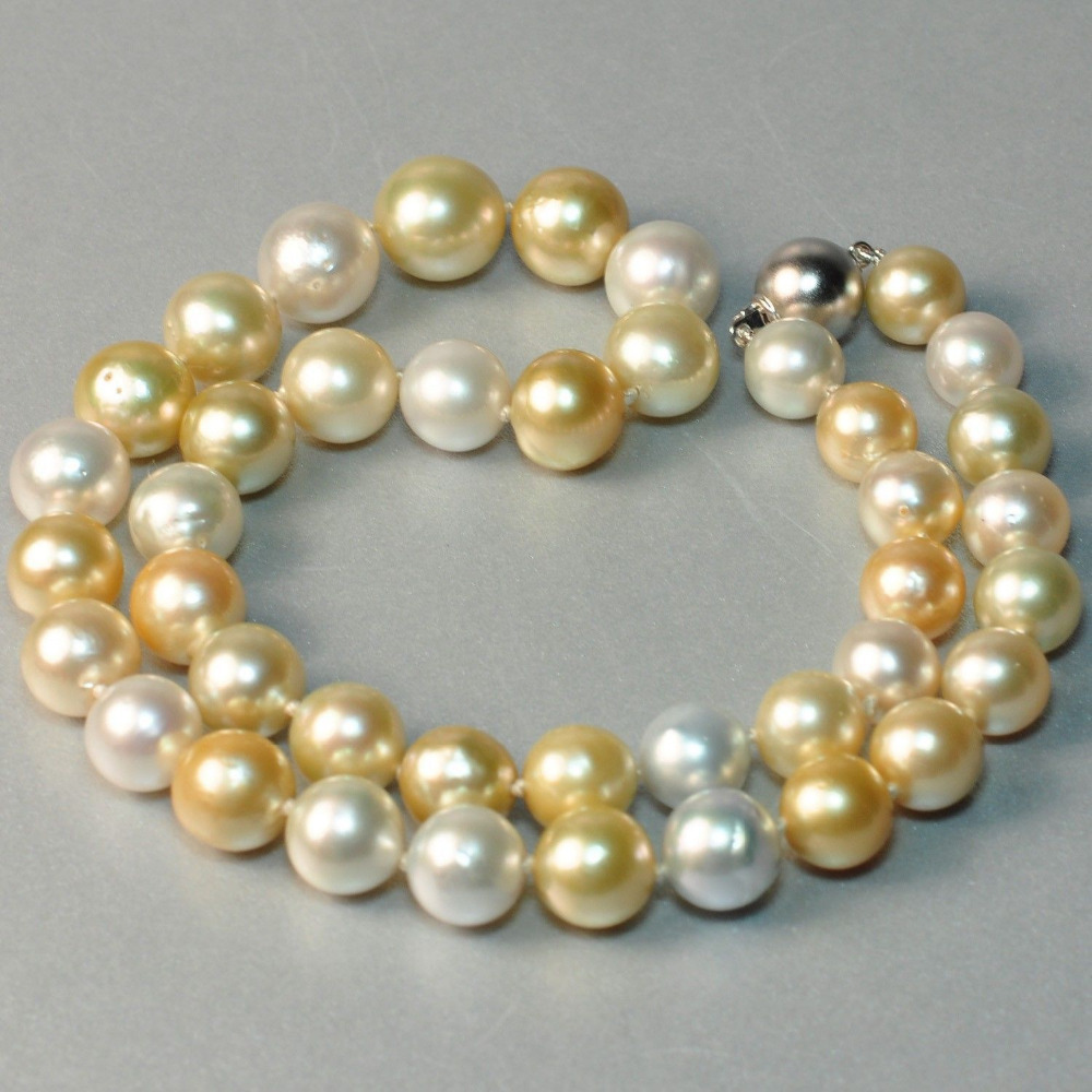Livraison gratuite bjc 0001528 10-11mm mers du sud perle blanche, collier de perles en or