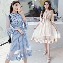 Spring and summer new style Korean version of slimming temperament dress Polka dot flare sleeve