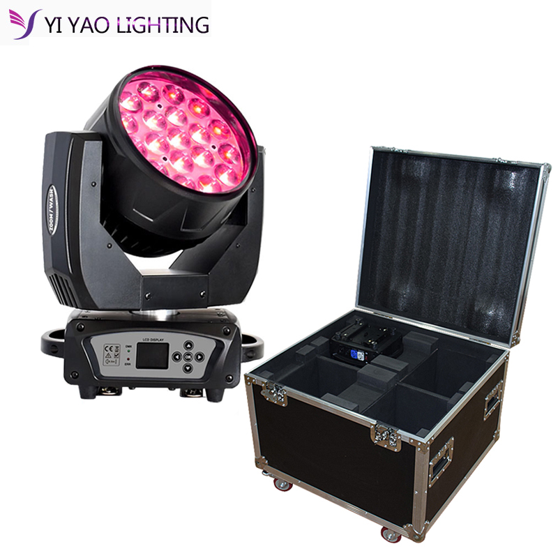 Moving Head Light 19x15w RGBW 4In1 Wash Zoom Lights With Point Control Effect For Stage DJ Lighting 4in1 Flight Case