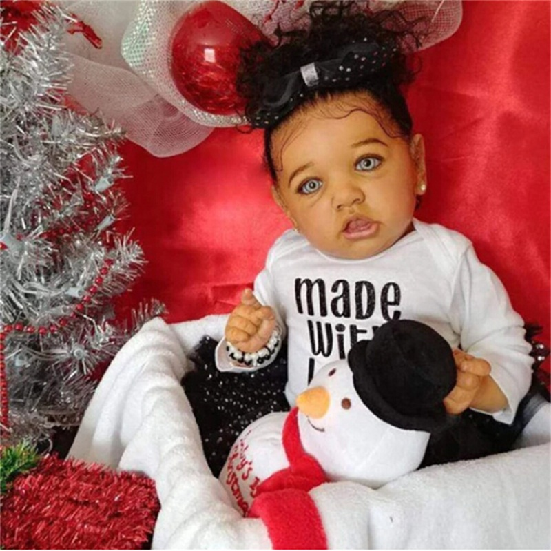 22 Inches Silicone Reborn Baby Toy Realistic Reborn Baby Doll Lifelike Newborn Doll Toys For Children Birthday Christmas Gift
