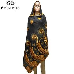 Image 2 - Шарф из 100% хлопка, женский шарф в африканском стиле, мусульманский шарф с цветочной вышивкой, шарф EC127