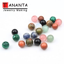 Natural Stone Single Hole Ball Beads 8 10 12mm Malachite Jaspers Gold Sandstone For Jewelry Making DIY Drop Earrings Gifts