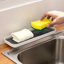 Органайзер для кухонной раковины, держатель для мыла и губки, поднос для слива посуды в бутылочке-поднос для хранения губки для мытья посуды...