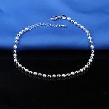 Горячая Распродажа, классические простые маленькие круглые браслеты с бусинами, 925 пробы браслет с серебряной пластиной, цепочка для женщин, браслет, ювелирное изделие