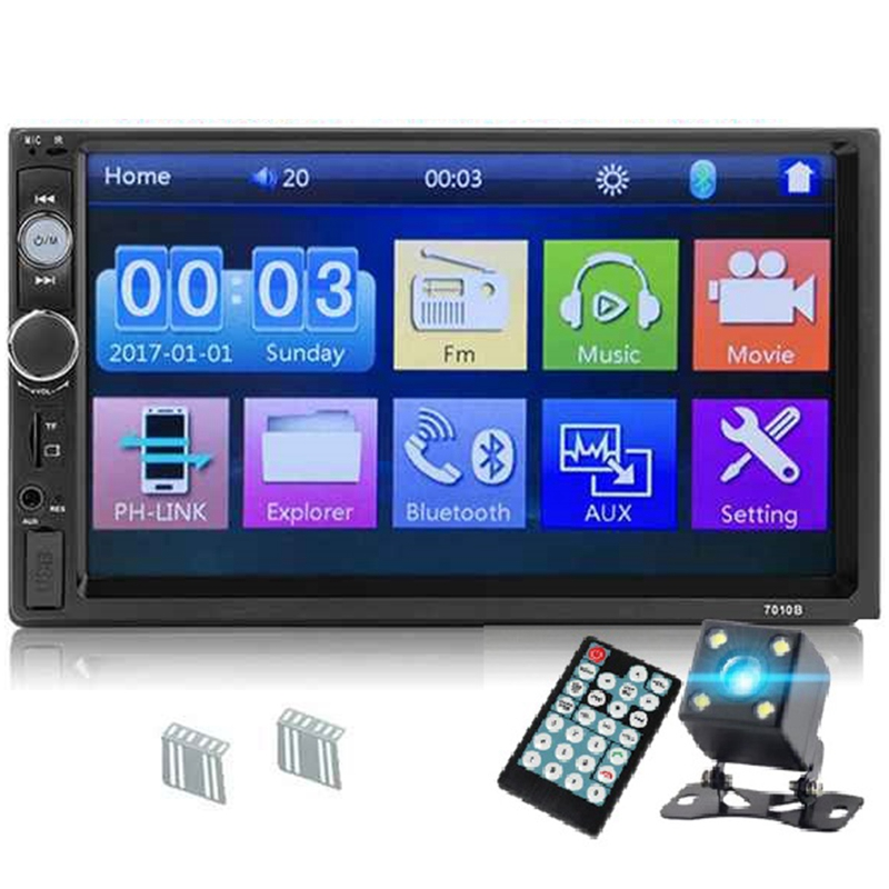 7010B 2 Din autoradio 7 pouces lecteur Mp5 écran de Contact Bluetooth multimédia miroir Android voiture caméra de sauvegarde moniteur (4Led)
