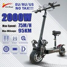 Scooter elétrico do pontapé do motor duplo de jueshuai 2600w para adultos 52v20a 75km/h 10-Polegada scooter dobrável pneu elétrico