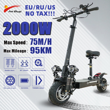 flj newest design foldable electric scooter for adults with 3200w motor wheel electric scooter off road fat tire kick scooter Jueshuai Electric Scooter 2600W Dual Motor Kick Scooter for Adults 52V20A 75KM/H 10-Inch Tire Foldable Scooter Eléctrico