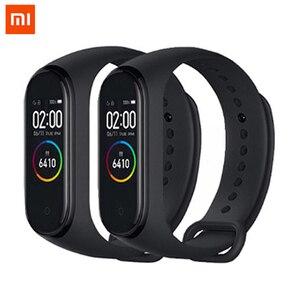 Image 1 - Оригинальный Xiaomi Mi Band 4 глобальная Версия смарт Браслет фитнес браслет Miband Band 4 пульсометр 3 цвета экран Smartband
