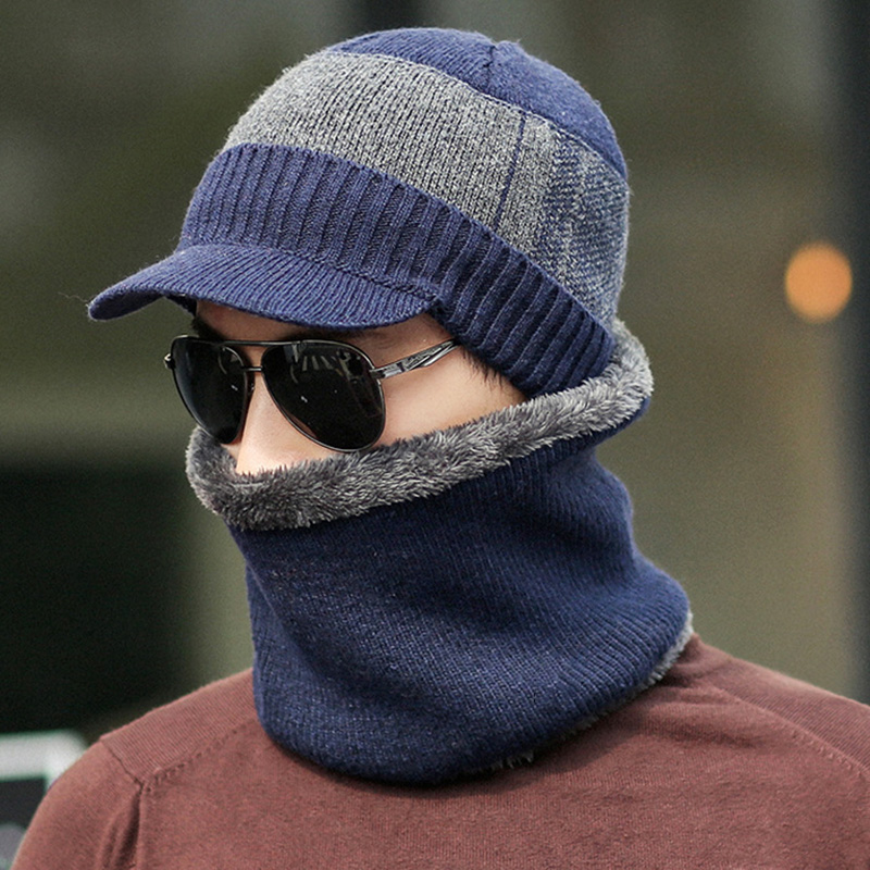 Men Winter Warm Cap With Scarf Knit Visor Beanie Fleece Lined Cap With Brim Knitted Scarf TT@88