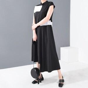 [EAM] Women Black Irregular Split Long Dress New Stand Collar Sleeveless Loose Fit Fashion Tide Spring Summer 2020 1T36001