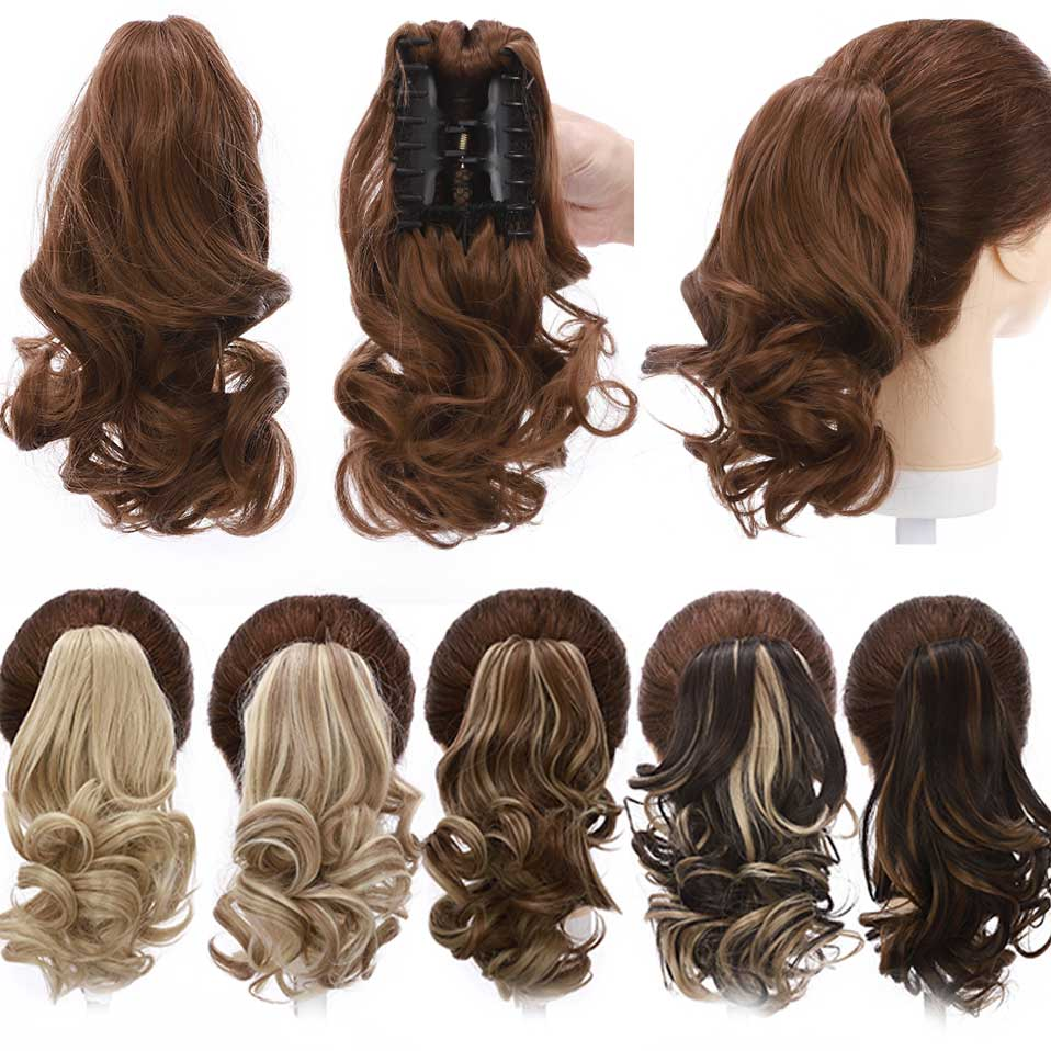 S-noilite синтетические короткие волнистые накладные волосы для конского хвоста чёрный коричневый конский хвост заколка для волос для женщин