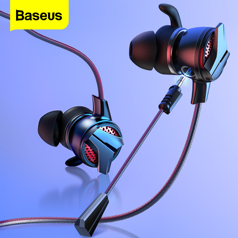 Baseus In-Ear Earphone 3 5mm Jack 3 5 mm Wired Headset for PUBG Gamer Gaming Headphones Hi-Fi Earbuds With Microphone Detachable